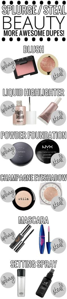 Splurge vs. Steal Beauty - AWESOME list of drugstore dupes for high end makeup! Great cosmetics guide.
