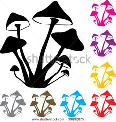 Silhouette, Mushrooms and Vector free download on Pinterest