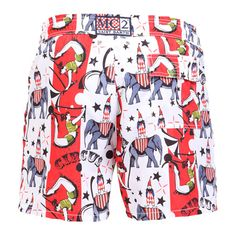 GUSTAVIA SWIM SHORTS WITH CIRCUS PRINTCircus print GUSTAVIA Swim Shorts, with white and red bands. Two side pockets. Back Velcro flap pocket. MC2 label on waist to the reverse. Elastic waistband with adjustable drawstring. Internal net. COMPOSITION: 100% NYLON. Model wears size M, he is 189 cm tall and weighs 86 Kg.