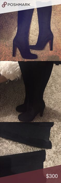 """Alaia High boots Suede Alaia High boots..3"""" heels.. Approx 12"""" boot shaft... Pre loved in good condition.... There are pulls on the garter please refer to pictures Alaia Shoes Heeled Boots"""