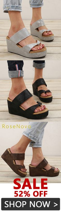 TM OutTop Womens Wedges Sandals Ladies Casual Flock High Ankle Outdoor Ankle Round Toe Rome Shoes