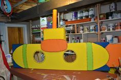 Submarine Photo Op for VBS! Made out of the bottom of the shipping box and some spare cardboard!