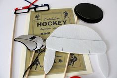 Hockey. Photo booth Props. Wedding Photo Props. Hockey Props. Photo Props. Mustache on a Stick. Props on a Stick - The Penalty Box Maro Kit. $22.95, via Etsy.