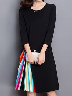 $44.50  Women Rainbow Stripe Patchwork O-Neck Dress is one beautiful elegant black dress with patchwork,can be used for formal use as well as parties and functions.  #PATCHWORKDRESS #SPRINGDRESSES #SUMMERDRESSES #WOMENDRESSES #WOMENFASHION