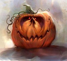 Jack-O'-Lantern Digital Painting by Ryan Wood