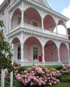 This delightfully beautiful Pink Victorian house has wonderful double porches. Pink Houses, Old Houses, Villa, Pink Hydrangea, Pink Flowers, Hydrangeas, Victorian Architecture, Rose Cottage, Shabby Chic Homes