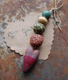 Sweet Love / Summer Tone Ceramic Two Tone Heart Charm and Bead Set | gaea.cc