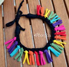 Rainbow Colorful Tribal Fringe Bib Braided Necklace by Borgica, $24.50