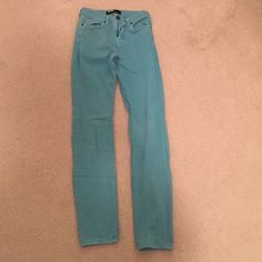 High waisted Urban Outfitters bright blue jeans. Tight fitting. Almost jegging material - stretches. Incredibly flattering. Perfect condition. Urban Outfitters Pants Skinny