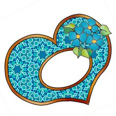 artbyjean blog heart frame | turquoise blue heart frames with blossoms this frame is part of a ...