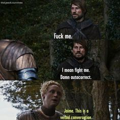 23 and up to no good I love jaime x brienne Game Of Thrones Meme, Game Of Thrones Houses, Jaime And Brienne, Game Of Thones, Dangerous Games, Valar Dohaeris, Got Memes, Great Tv Shows, Sarcasm Humor