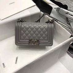 Chanel Original Lambskin Small Le Boy Flap Bag in Grey 20cm Chanel Boy Bag  Small 64da57eb3c6c2