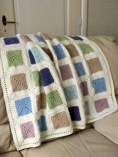 Ravelry: Baby-blanket pattern by Jeanet Jaffari Crochet Blocks, Afghan Crochet Patterns, Crochet Squares, Crochet Granny, Baby Blanket Crochet, Crochet Stitches, Crochet Baby, Granny Squares, Crochet Home