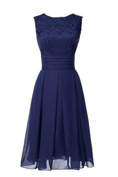 TDHQ Women's Jewel Lace Applique Pleated A-Line Short Chiffon Bridesmaid Dress Navy Blue UK10