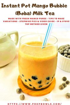 Bubble tea, also known as pearl milk tea, bubble milk tea, or Boba, is a tea based drink. It is commonly made of tea accompanied by chewy tapioca balls (Boba /pearls/ sabudana), and other toppings. This yummy and super refreshing Iced Bubble Tea is flavored with the most popular Mango fruit. It's super easy to make this bubble tea at home, and you're going to love it! The best part, mango bubble tea is perfect for the hot summer days. It's definitely one of the best flavor in bubble tea. Potluck Recipes, Party Recipes, Tea Recipes, Copycat Recipes, Summer Recipes, Fall Recipes, Bubble Tea Pearls, Bubble Milk Tea, Boba Tea Recipe