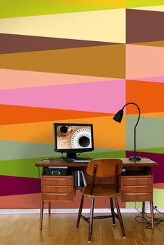 Papel de parede color! Love this retro Harlekin 2 wallpaper from Ginger Design Studio.