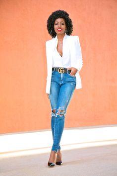 White Blazer + V-Neck Blouse + Distressed High Waist Jeans