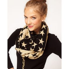 Asos Metallic Stars Knitted Snood ($26) found on Polyvore