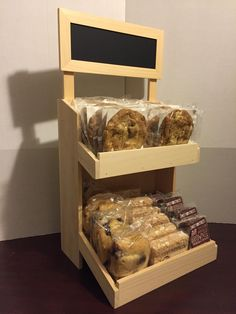 Rustic wood bakery counter display POP with removable chalk board sign. Perfect…