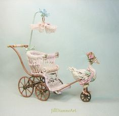 Layaway Plans - Mechanical Antique Style French Goose or Rabbit Pram - Mint or Pink - Hand-crafted Jill Dianne Dollhouse Nursery Miniatures