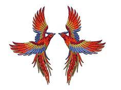 Phoenix Bird Applique Patch - Embroidery Iron on Motif - Sew on - Tiger Orange, Garnet Red, Blue, Glitter Gold - x 16 cm - 1 pair Bird Applique, Bird Embroidery, Iron On Applique, Beaded Embroidery, Embroidery Patterns, Tiger Sketch, Iron On Fabric, Phoenix Bird, Fabric Patch
