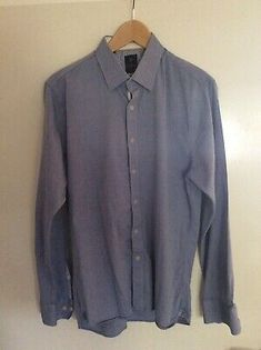 House of Cavani Premium Cotton Blue Shirt 15 1/5 | eBay Denim Button Up, Button Up Shirts, Man Of The House, Tailored Shirts, Formal Shirts, Men's Accessories, Cotton, Blue, Ebay