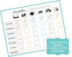 Easy Chore Chart for Children - Reward Chart to Print - Family Organization - Toddler Chore Chart (INSTANT DOWNLOAD)