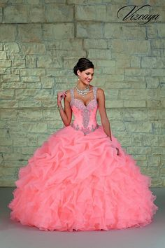 mori-lee-vizcaya-89023-coral-quinceanera-dress-ruffled-organza-pick-up-skirt-tapered-strap-sheer-back