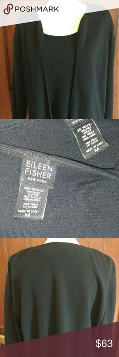 "EILEEN FISHER Cardigan/Shell set Black merino wool set. Each piece sized medium. Also sold separately in following listing. Approximately 25"" in length. Excellent condition. Eileen Fisher Jackets & Coats"