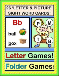 GAMES for INITIAL LETTERS / SOUNDS! Use this group RHYMING GAME to introduce or review letters and sounds. Comes with 26 LETTER / PICTURE CARDS. Each card pairs the Letter with 2 Pictures and 2 Sight Words-- most are from the Dolch Lists. Then use the cards in FOLDER GAMES for your Centers-- directions included. (13 pages) From Joyful Noises Express TpT! $