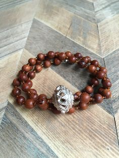 """Wrap bracelet/Necklace with wood beads 21"""""""