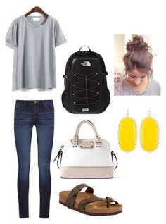 """""""casual day of school"""" by mkhays on Polyvore featuring DL1961 Premium Denim, Birkenstock, Kate Spade, The North Face and Kendra Scott"""