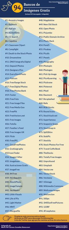 94 Bancos de Imágenes gratis #infografia #infographic #design                                                                                                                                                                                 Más