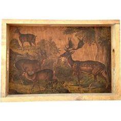 Deer Scene Wood Serving Tray