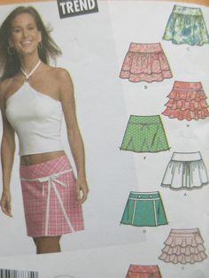 Simplicity 4705 Sewing Pattern, Mini Skirt Pattern, Ruffled Mini Skirts, Waist 22 to 23, CUT TO SIZE 5/6, 2004 Sewing Pattern Junior Pattern by sewbettyanddot on Etsy