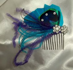 Peacock bridal fascinator hair accessory wedding by kathyjohnson3, $28.00