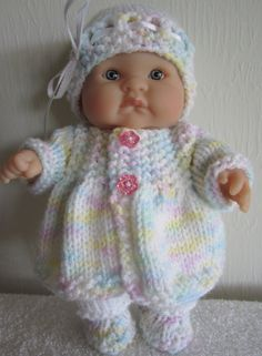 Knitting Pattern Berenguer Baby Doll Matinee Jacket Set for the 8 inch Lots to Love Baby Dolls instant digital download