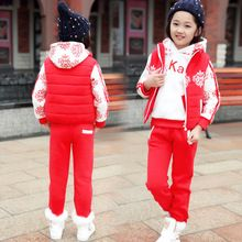 winter style plus thick velvet snow plum pattern children clothes kids clothing set for baby girls 3pics/suit christmas gifts(China (Mainland))