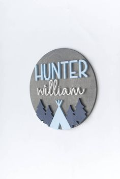 This listing is for an 18 round sign customized with the name you choose as well as the trees and teepee as pictured. If you love this sign, but are interested in the 12 round, visit here: https://www.etsy.com/listing/527017956/12-3d-personalized-round-sign-with?ref=shop_home_active_3 If