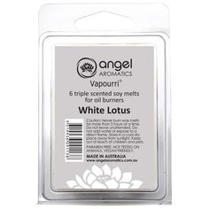 White Lotus Soy Melts by Angel Aromatics   WHITE LOTUS - Clamshell Soy Melts. The product link is http://www.angelaromatics.com.au/all/soy-melts-white-lotus-ivory