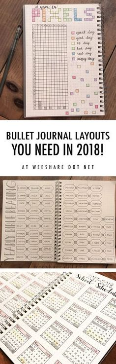 Bullet journal ideas that YOU need to try in 2018! A year in pixels, schedules, and bible reading trackers! Head to wee share to check it out!