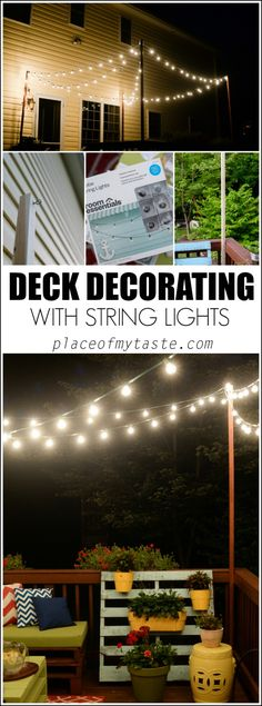 DECK DECORATING WITH STRING LIGHTS. Fun patio decor.