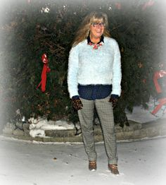 Forever 21 soft blue sweater, plaid pants and dot shirt from Old Navy, Boots from Shoe Dazzle #fashion #boots #over40