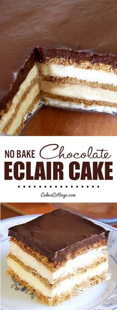 No Bake Chocolate Eclair Icebox Cake - Cakescottage Looking for a quick and easy dessert recipe with only 15 minutes of hands-on time ? Try out delicious No Bake Chocolate Eclair Icebox Cake ! Best Dessert Recipes, No Bake Desserts, Easy Desserts, Delicious Desserts, French Desserts, Quick Desert Recipes, Icebox Desserts, Dessert Healthy, Dessert Crepes