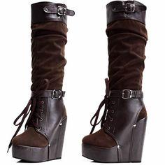 Women Chocolate Brown Suede Platform Wedge Knee High Goth Punk Boots SKU-11405412