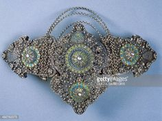 Woman's belt buckle.  Late-Ottoman, 19th century.  Silver filigree and enamel.