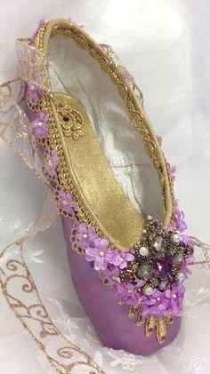 a587197058a7 Nutcracker Sugarplum Fairy decorated pointe shoe. Sleeping Red Ballet Shoes,  Ballerina Shoes, Pointe