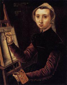 PINTURA ::: Soportes - Catharina van Hemessen (1548) con los utensilios propios…
