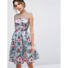 Chi Chi London Floral Print Midi Dress In Sateen ($80) ❤ liked on Polyvore featuring dresses, multi, floral print dress, going out dresses, holiday party dresses, midi dresses and bridesmaid dresses