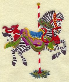 CAROUSEL CHRISTMAS ZEBRA  Machine Embroidery D9024   4.8x5.6